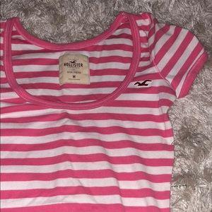 Hollister Pink Striped T-Shirt (Size Medium)